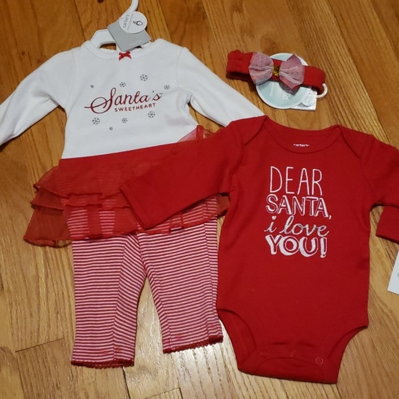 Newborn Christmas Outfit Girl.New Carter S Baby Girl Newborn Christmas Outfits Nwt